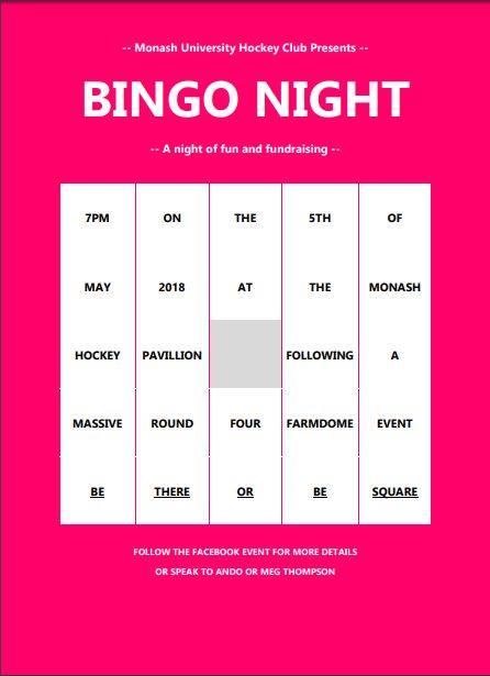Bingo Night! @ Monash Hockey Pavillion